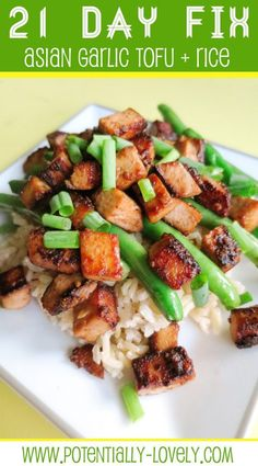 This dish is sticky, sweet, tangy and, most importantly, garlicky. I don't love tofu but using cubed tofu, or cutting it into small cubes yourself, really helps keep the pieces small and I didn't notice the texture of it much when mixed with rice. My