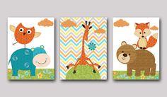 Fox Nursery Giraffe Nursery Owl nursery Baby Boy Nursery art print Childrens Wall Art Baby Room Decor Kid Art set of 3 8x10 blue hippopotmus on Etsy, $46.83 AUD