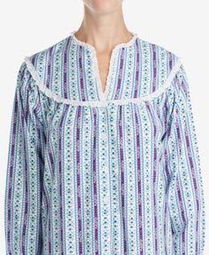 Lanz of Salzburg Ballet Lace-Trim Cotton Nightgown - Purple XL