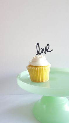 LOVE Cupcake Toppers: Glitter Font, Party, Wedding, Graduation, Shower, Birthday, Anniversary, Prop, Toothpick, 18 COLORS