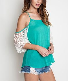 Look at this Emerald Lace Cold Shoulder Tunic on #zulily today!