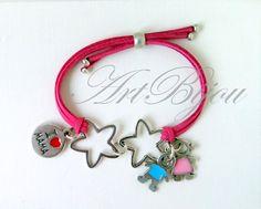 Mothers Day Bracelet, Zamak Bracelet, Suede Braelet, Adjustable Bracelet, Star Bracelet, Child Bracelet, Baby Bracelet, Gift Ideas, mama