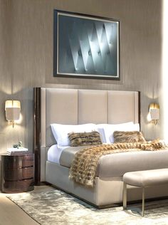 Fendi Casa Contemporary - Adone bed, Asja bench and Velum wall lamps www.luxurylivinggroup.com #Fendi #LuxuryLivingGroup