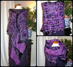 Purple back lilac pink plaid nuno felted wool & silk shawl by Angelab5705