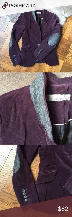 """Zara Velvet Blazer A deep eggplant color with all the trimmings. Single button closure with Flip up wool lined collar and elbow patches. Decorative front pockets and tailored for the perfect fit! In excellent condition with no issues. 16.5"""" underarm to underarm and 25"""" L. 98% cotton and 2% stretch and fully lined! Zara Jackets & Coats Blazers"""