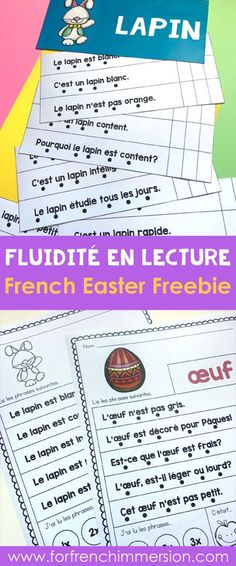 FREE French Easter Reading Fluency Practice Sheets: add some fun reading fluency practice to your guided reading toolbox or to your literacy centres! #forfrenchimmersion #frenchliteracycenter #frenchguidedreading