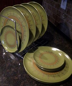 Avocado Gold FleurDeLis ALLIED CHEMICAL Plates by maggiecastillo, $25.00