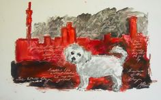 A Maltese poodle to exemplify the loneliness and alienation of the city. Maltese Poodle, Loneliness, City, Painting, Solitary Confinement, Painting Art, Cities, Paintings, Painted Canvas