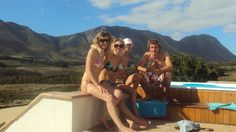 Next to the jacuzzi at the cottage in Hermanus, surrounded by vineyards!  Ooh, this is the life!