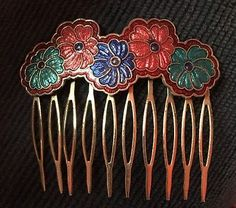 Vintage Cloisonne Hair Comb Floral Multi-Colored Daisy Flowers | eBay