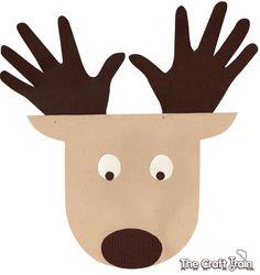 kids hand reindeer card | Reindeer Handprint Card