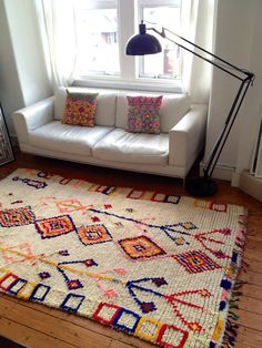 Vintage Moroccan rug  Boucherouite wool by BazaarLiving on Etsy, £345.00