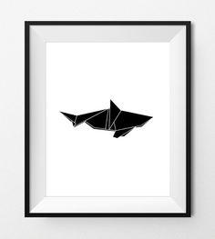 Digital Print Art - ORIGAMI SHARK - Geometric animal art, sea animals, fish print, modern digital printables - Instant Download