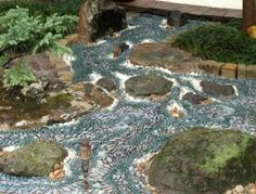 mosaic or a dry creek bed garden