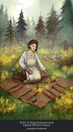 Green Witch Tarot: 8 of Wands