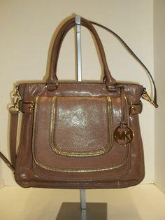 MICHAEL KORS Dark Dune Leather Naomi Large Satchel Handbag