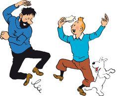 Tintin, capt Haddock and Snowy