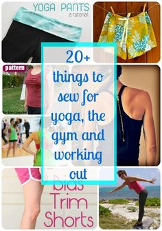 Fun ideas for things to sew for yoga, the gym and working out.  Love the t-shirt refashions to work out wear