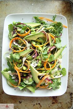 This salad looks delicious - Asian Chicken Salad with Honey Sesame Dressing
