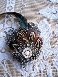 Handmade Pheasant Feather Brooch Pin with by TallTalesVintage