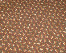 """Vintage Calico Cotton Fabric Brown Background with Tiny Flowers 1 Yard by 42"""" Wide 1960's Material BEAUTIFUL"""