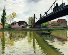 Landscape paintings by Albert Marquet - Le Pont de Conflans, Raoul Dufy, Henri Matisse, Rio Sena, Art Français, Art Van, European Paintings, Post Impressionism, Art Moderne, French Art