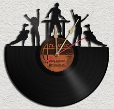 DJ On Deck Theme Vinyl Record Clock Upcycled vinyl records Great Gift
