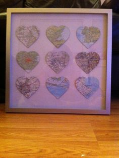 Homemade Map Art Picture - Cool idea to keep in mind when traveling! Snag a map from whatever cool location u travel and start one of these! Crafts To Make, Arts And Crafts, Diy Crafts, Christmas Presents, Christmas Gifts, Homemade Advent Calendars, Travel Baby Showers, Presents For Mum, Diy House Projects
