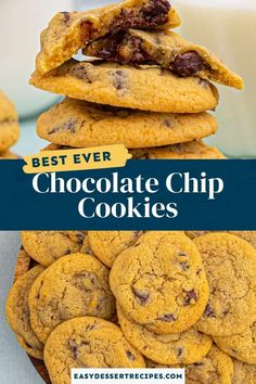 These homemade chocolate chip cookies have crispy edges, perfectly melted chocolate chips and the BEST chewy texture! Grab a glass of milk and enjoy a batch of these delectable classic cookies. Homemade Chocolate Chips, Homemade Chocolate Chip Cookies, Perfect Chocolate Chip Cookies, Melting Chocolate Chips, Melted Chocolate, Dark Chocolate Chips, Potluck Desserts, Dessert Recipes, Perfect Cookie