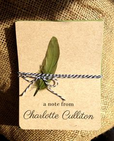 Personalized Kraft Notecards with Green Envelopes by DePapier