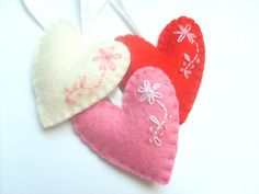 Heart ornament felt ornaments Valentine's by grabacoffee on Etsy