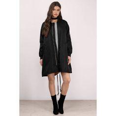 Tobi Joni Oversized Longline Bomber ($136) ❤ liked on Polyvore featuring outerwear, jackets, black, longline jacket, long line jacket, bomber style jacket, oversized jacket and bomber jackets