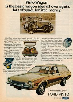 Ford Pinto, L Car, Retro Advertising, Tap Room, Station Wagon, Print Ads, Wood Grain, Classic Cars, Wheels