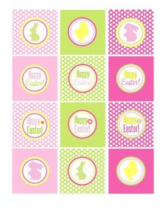 "Nice set of Easter printables (includes party circles for cupcake toppers, tented cards, and a ""Happy Easter"" banner.)"