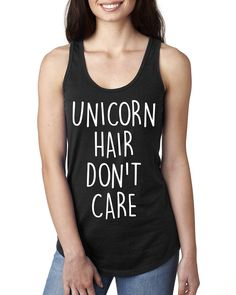 Unicorn hair don't care Ladies Racerback Tank Top