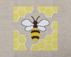 honey bee cross stitch kit on linen aida by ModernNeedleworks