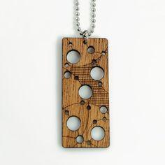 NEBULA  Laser Cut Mahogany Wood Pendant by lightwavesstudio, $30.00