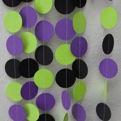 Purple Lime Green and Black Circle Garland by ZinzeeParade on Etsy Maleficent Birthday Party, Hulk Birthday Parties, Superhero Birthday Party, Boy Birthday, Halloween Party Themes, Birthday Party Decorations, Halloween Halloween, Hulk Party, Monster Truck Birthday