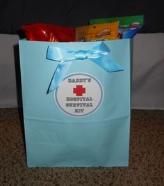 Daddy's Hospital Survival Kit and Card  this is so cute! I would change a few things in there for luther specifically but its so cute!