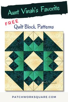 Aunt Vinah's Favorite quilt block Colour placement in the AUNT VINAH'S FAVORITE quilt block is what sets the star motif as a focal point. You will get lots of practice in making three quarter square triangle patches to create this striking design. Star Quilt Patterns, Pattern Blocks, Patchwork Patterns, Quilt Blocks Easy, Ribbon Quilt, Textiles, Barn Quilts, Square Quilt, Quilting Designs