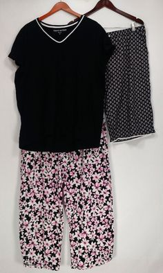 b5b444c4cc2 Carole Hochman Women s Plus Sz Pajama Sets 1X Floral Cotton Jersey Black  A30  fashion