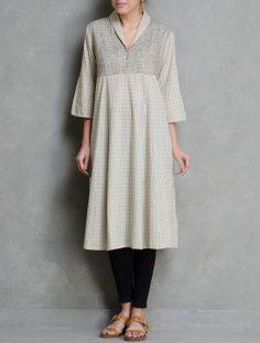 Beige Zari Embroidered Checks V-Neck Cotton Kurta