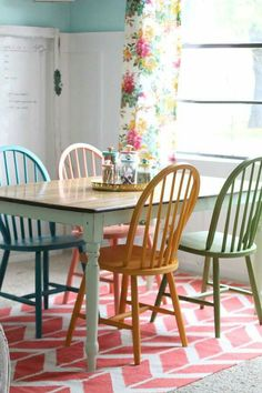 chalky paint tutorial DIY-er Jane {} painted four bright & colorful chairs with Chalky Paint, customized to fit her home office decor!DIY-er Jane {} painted four bright & colorful chairs with Chalky Paint, customized to fit her home office decor! Decor, Farmhouse Dining, Home Office Decor, Painted Furniture, Dining Room Chairs, Kitchen Decor, Home Decor, Table Makeover, Furniture Makeover