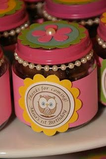 Recycled baby food jars filled with chocolate ... Owl Birthday party favor