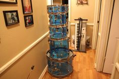 """This is a 70's Ludwig Blue Vistalite Drum Kit shell pack. It has no cracks and is in excellent condition. Price is $1,500. Compare on eBay at $1,995 DRUM SIZES: Bass Drum- 14"""" H x 22"""" w Floor Tom- 16"""" H x 16"""" W Rack Toms- 8"""" H x 12"""" W, 9"""" H x 13"""" W Snare Drum- 5"""" H x 14"""" W"""