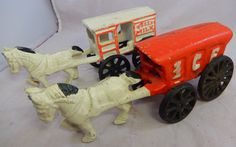Vintage Set of 2 pcs Cast Iron Horse Drawn Carriages Fresh Milk & Ice