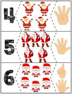 Teach counting skills with these Santas! Great for teaching counting skills and number recognition for Quick prep and great for math centers! Preschool Christmas, Christmas Activities, Christmas Themes, Kids Christmas, Christmas Crafts, Preschool Lessons, Preschool Activities, Carnival Crafts, Christmas Worksheets