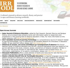 Open Access Resources & Journals presented by IRRODL