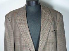Evan Picone 100% Pure Wool Houndstooth Suit Jacket Mens 44L Long 2 Button  #EvanPicone #TwoButton