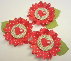 Shabby Red Polka Dot Paper Flower Embellishments by missymadeit Valentine Crafts, Valentines, Valentine Decorations, Polka Dot Paper, Candy Cards, Scrapbook Embellishments, Handmade Flowers, Flower Crafts, Flower Making